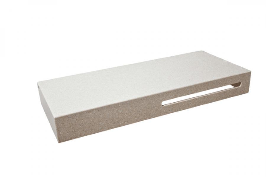 Столешница Montebianco REEX, прямоугольная, белый/сахара, 120*50*15 см