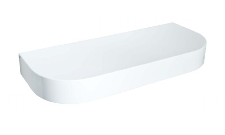 Столешница Montebianco REEX, прямоугольная, закругленная, белый/сахара, 120*50*15 см
