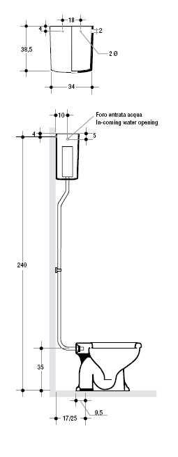 Унитаз Axa Contea 0601101 с бачком 0605001 и механизмом слива с высокой трубой