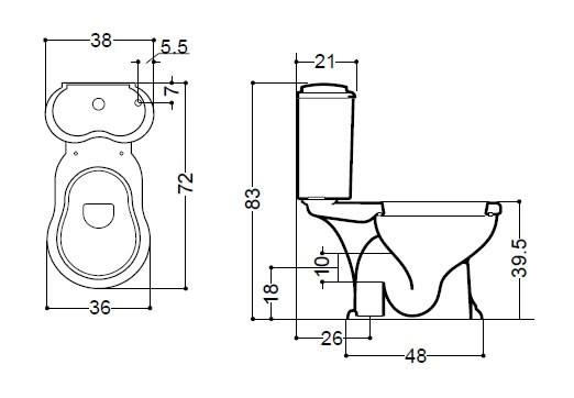 Унитаз Axa Contea 0601201 с бачком 0605101 и одинарным механизмом слива