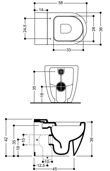 Унитаз Axa Evolution 2501101 приставной с креплением к полу