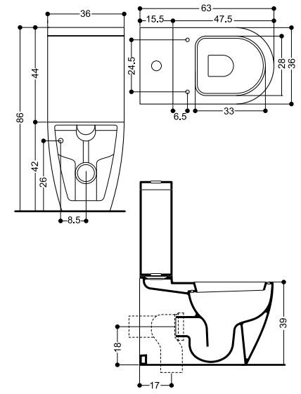 Унитаз Axa Evolution 2801301 с бачком 1305101 и механизмом слива