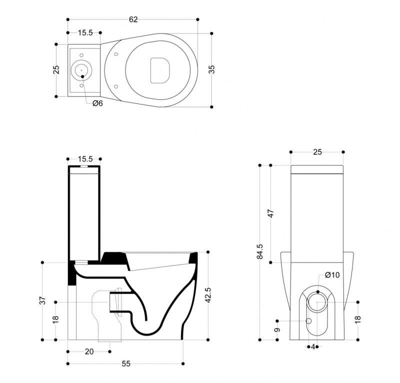 Унитаз Axa Normal 26013 с бачком 26051 и механизмом слива двойной