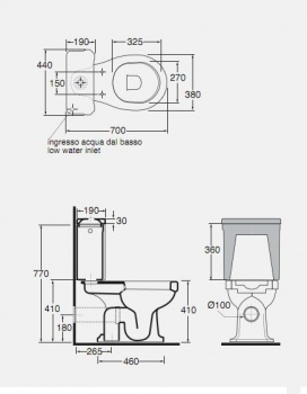 Унитаз моноблок Azzurra Giunone GIU100/MBP bi напольный