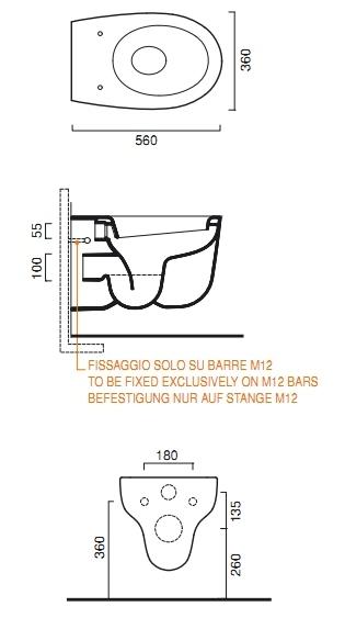 Унитаз Catalano Muse 1VSMU00, подвесной, 56*36 см