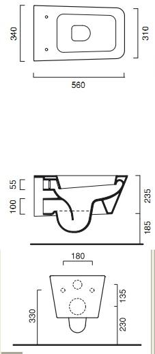 Унитаз Catalano Proiezioni 1VSPN00, подвесной, 56*34 см