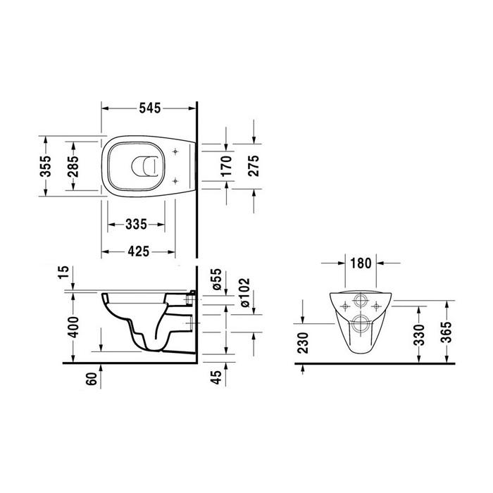 Унитаз Duravit D-Code 25350900002, подвесной с крышкой-сиденьем