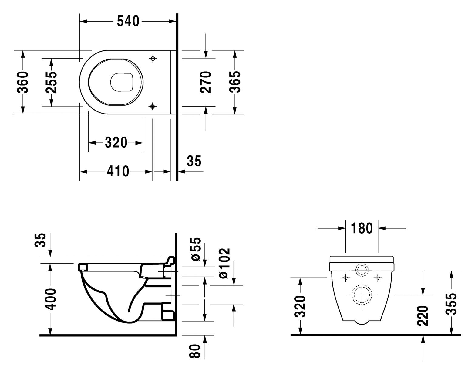 Унитаз Duravit Starck 3 220009 (420009) подвесной 54*36 см