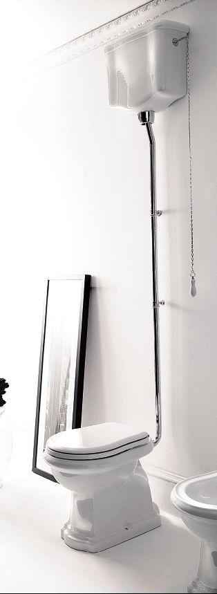 Унитаз Kerasan Retro 1010 с высоким бачком 1080, механизмом смыва с цепочкой и керамической ручкой, трубой и крепежом к полу