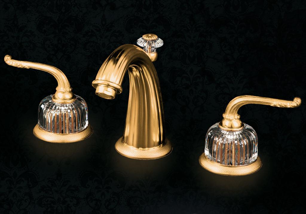 Смеситель для раковины Cristal-et-Bronze Saint-Honore Cristal, арт. 25821-61-40, на 3 отверстия, с донным клапаном