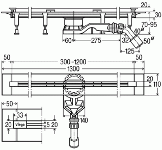 Душевой лоток Viega Advantix арт. 721671 под дизайн-вставку, корпус, произвольно укорачиваемый, 70 мм, (плоская модель)