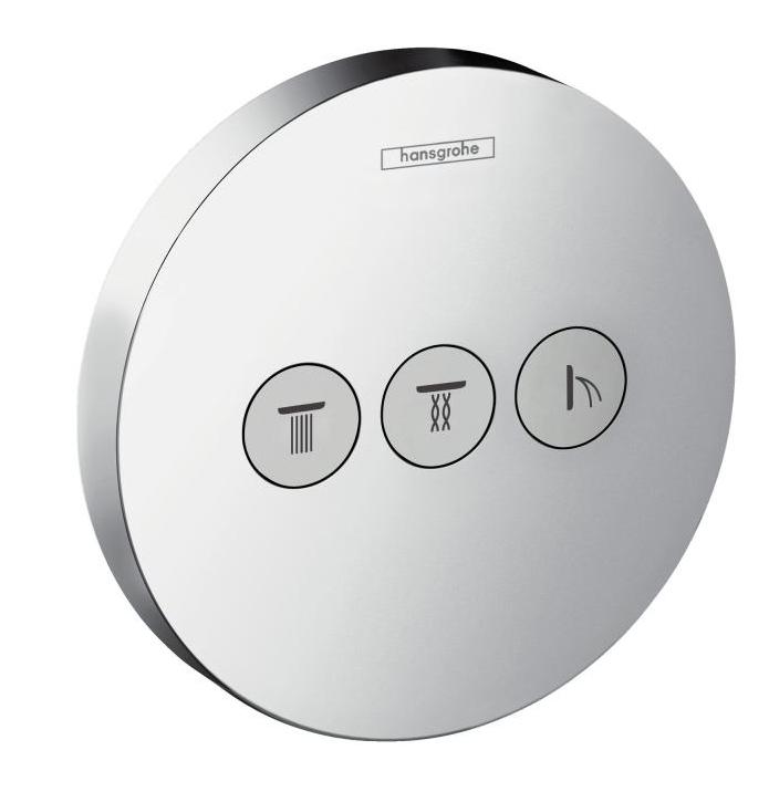 Внешняя часть Hansgrohe ShowerSelect S 15745000 запорно-переключающего устройства на трех потребителей