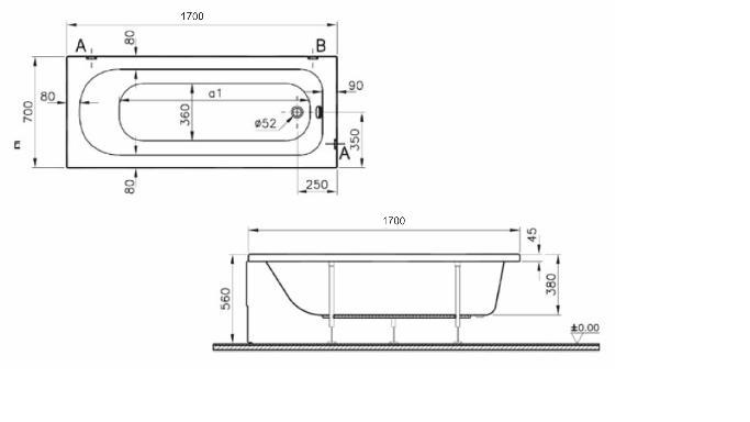 Ванна акриловая Vitra OPTIMA, арт. 50820001000, 170*70 см