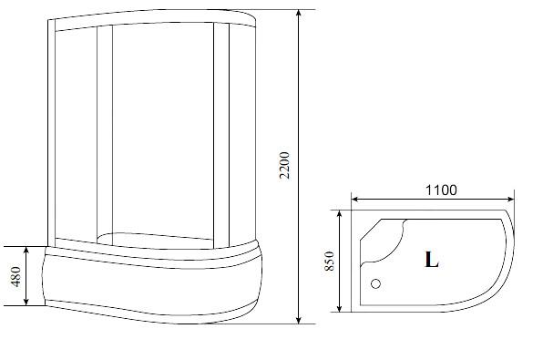 Душевая кабина Timo Standart T-1110 110*85*220 см