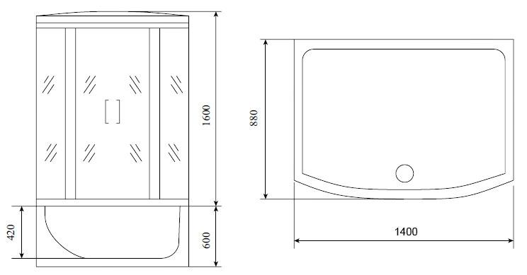 Душевая кабина Timo Standart T-1140 140*88*220 см