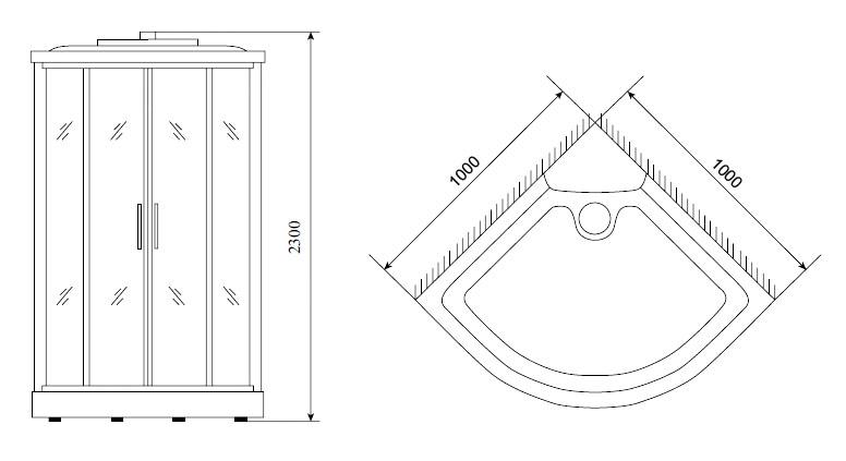 Душевая кабина Timo TL-1503 100*100*230 см (Lux)