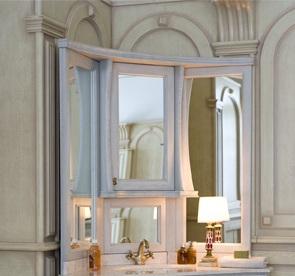 Зеркало на столешнице Аллигатор CLASSIC 125A(D) угловое, с одним шкафчиком, 89*89*125 см