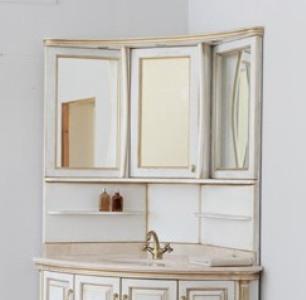 Зеркало на столешнице Аллигатор CLASSIC 125L(D) угловое, с одним шкафчиком, 89*89*125 см