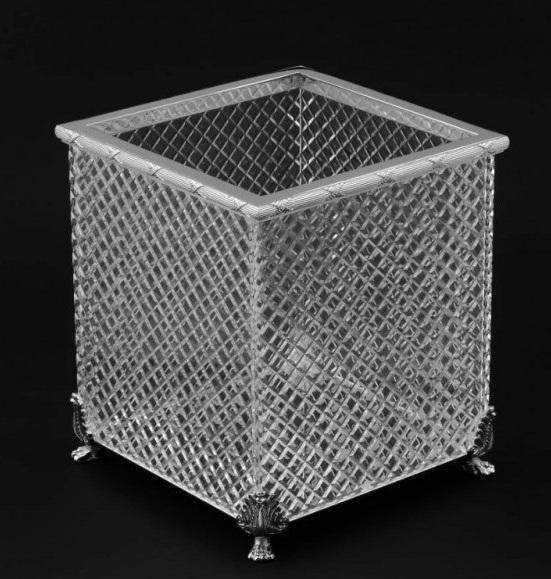 Хрустальная квадратная корзина для мусора Cristal-et-Bronze Boutique 30202