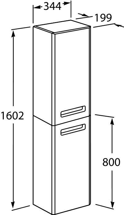 Шкаф-колонна Roca Gap 34*160 (левый/правый), белый