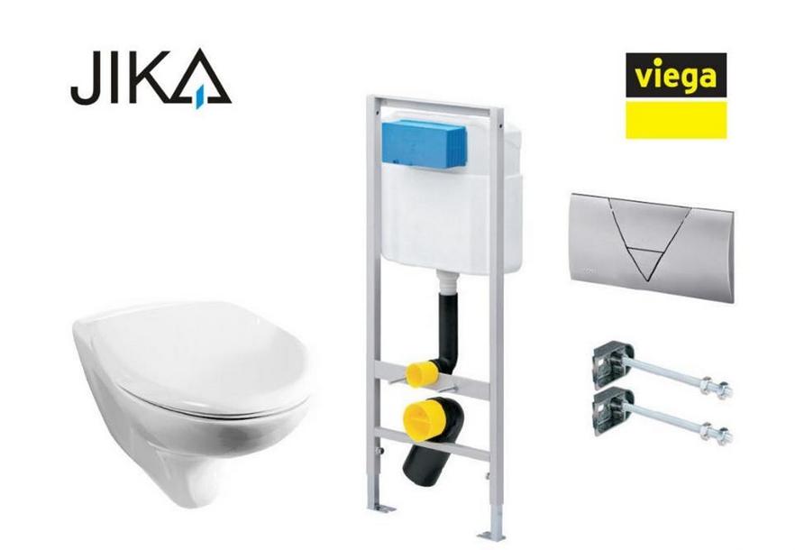 Комплект 4 в 1: Унитаз подвесной Jika ZETA с крышкой-сиденьем + инсталляция ViegaEco-WC 011-100203