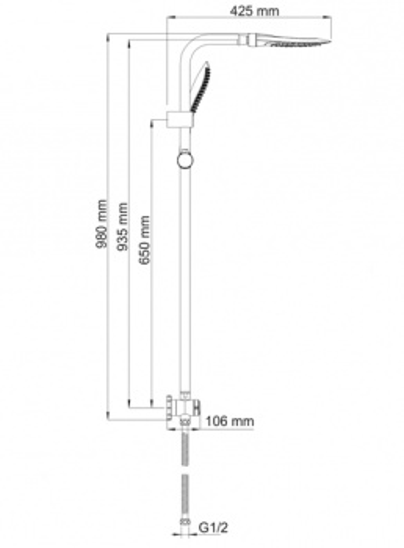 Душевая система WasserKRAFT А045, верхний душ 246*190 мм, хром