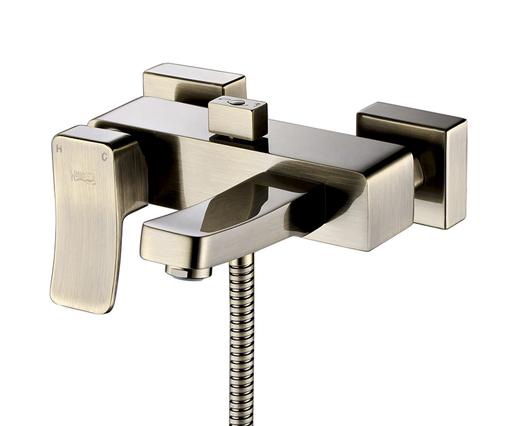 """Смеситель WasserKRAFT Exter 1601 для ванны с коротким изливом, """"светлая бронза"""""""