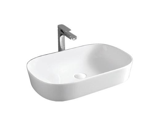 Раковина ArtCeram Ghost GHL002 01; 00, накладная, цвет - белый глянцевый, 65 х 41,5 х 12,5 см