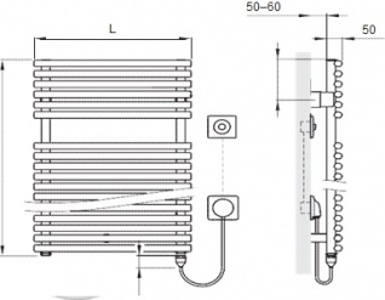Полотенцесушитель Arbonia Bagnowatt 115 BTW115 500 WKS2 CR
