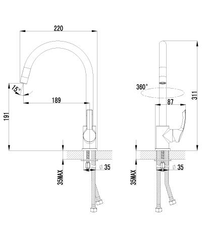 Смеситель Lemark plus Strike LM1105C для кухонной мойки