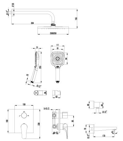 Душевой комплект Lemark Shift LM4322C для ванны и душа