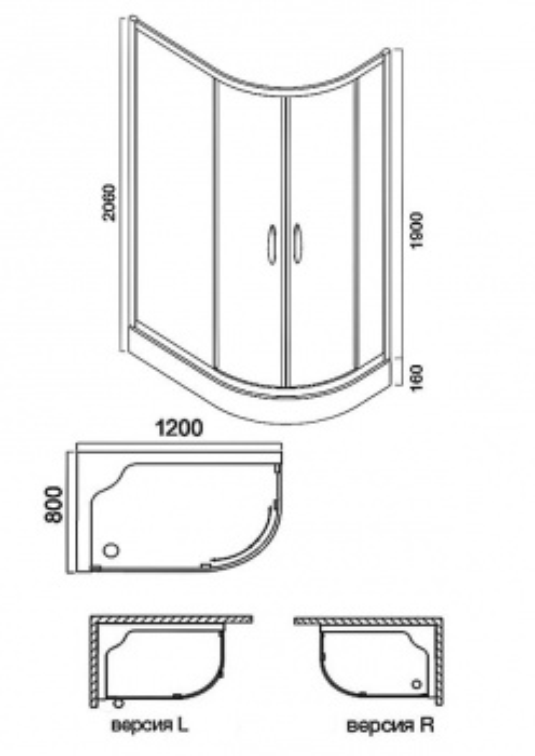 Душевой уголок Am.Pm Bliss L Twin Slide 120 W53E-302, 120*80 см