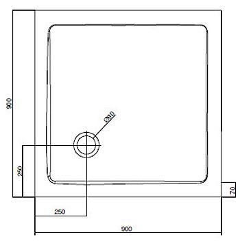 Душевой поддон Am.Pm Bliss L Square Slide W53T-303-090W, 90*90 см