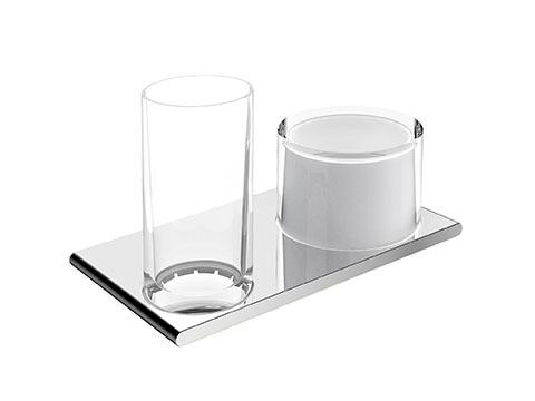 Двойной держатель со стаканом и дозатором жидкого мыла Keuco Edition 400 11553 019000