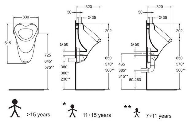 Писсуар Vidima СЕВА МИКС (BOX) (Seva Mix) W390061, подвесной, внешний подвод воды, 33*51,5*32 см