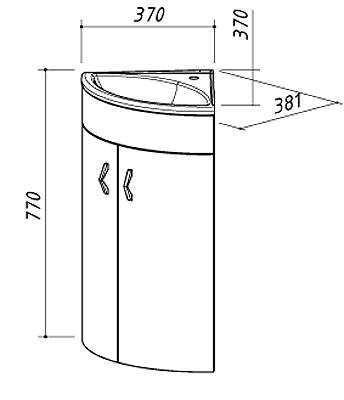 Тумба для раковины Belux Микро HУ 38