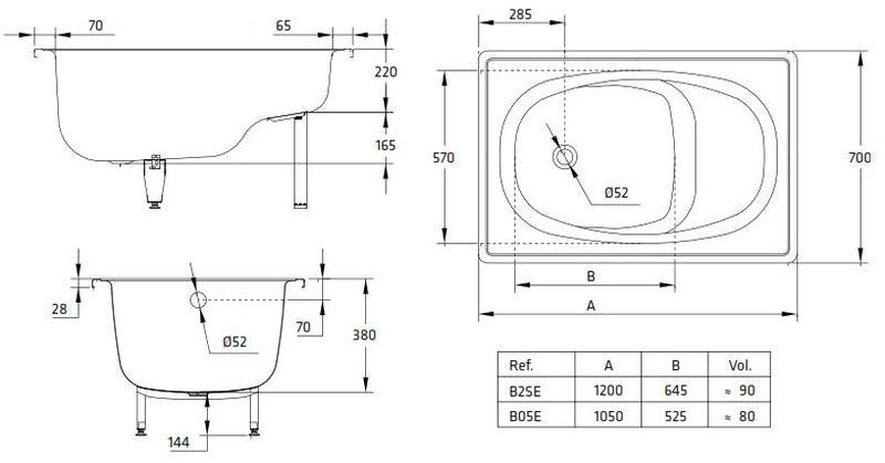 Ванна сидячая стальная BLB Europa Mini B05E 105х70 см