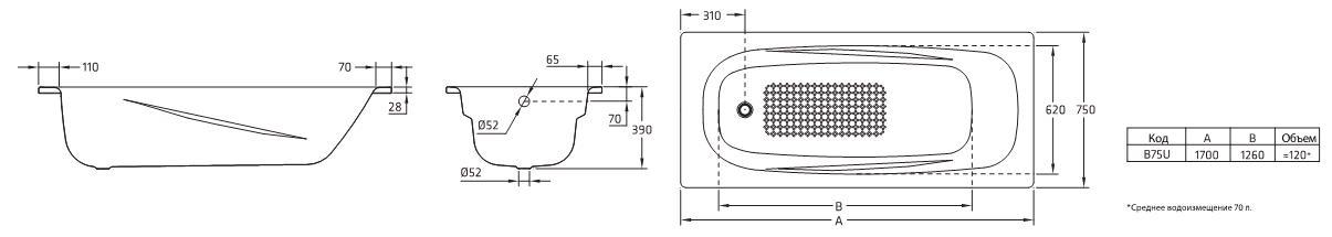 Ванна стальная BLB Universal Anatomica B75U 170x75 см
