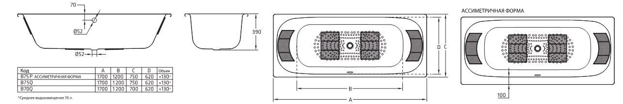 Ванна стальная BLB Universal Duo HG B75Q 170х75 см, с шумоизоляцией