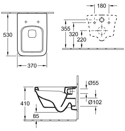 Унитаз подвесной Villeroy&Boch Architectura 5685 HR01 alpin, безободковый