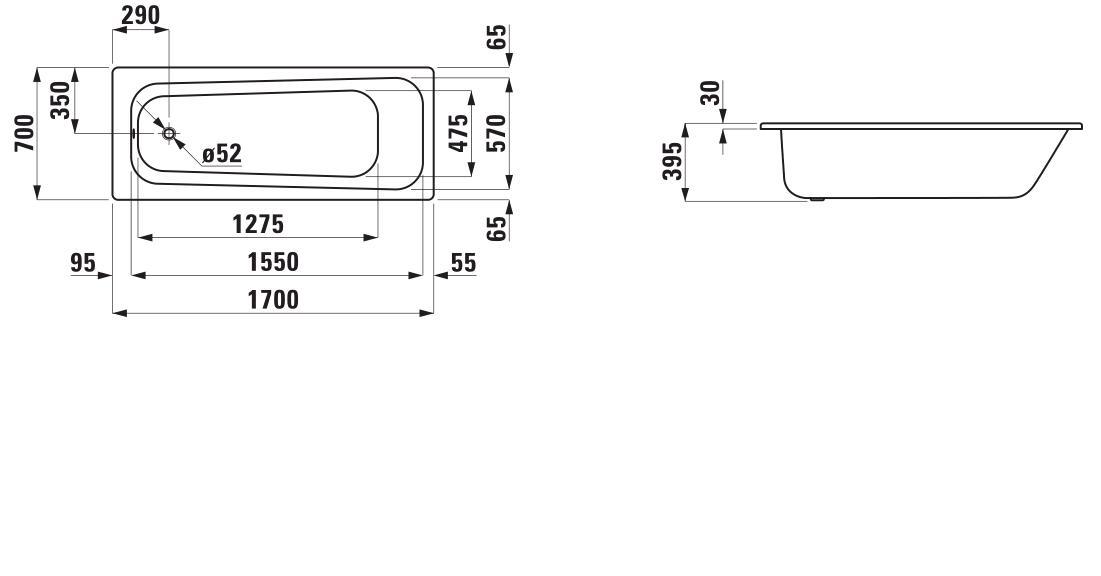 Стальная ванна Laufen Pro 2.2495.0.000.040.1 170х70 см без ручек