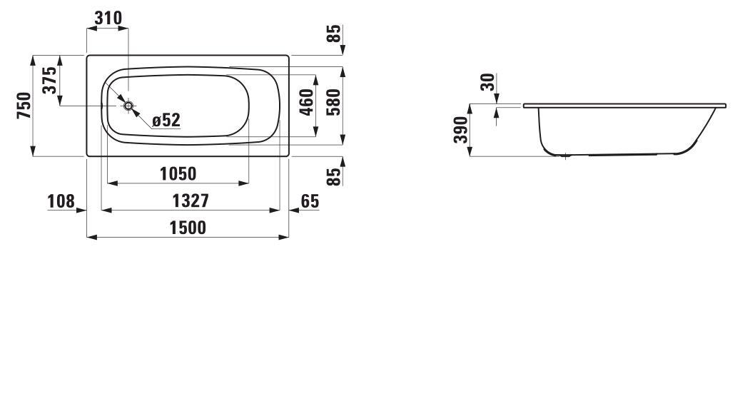 Стальная ванна Laufen Pro 2.2295.0.000.040.1 150х75 см без ручек