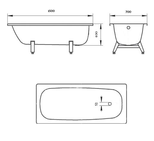Стальная ванна Donna Vanna 150x70, ножки в комплекте