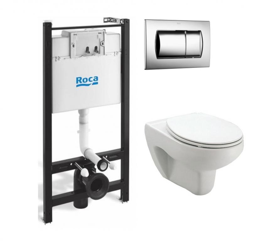 Комплект: Инсталляция Roca Active + унитаз Roca Mateo 346200000 + сиденье SoftClose + клавиша хром