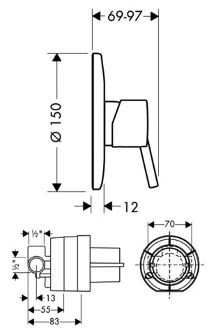 Комплект для гигиенического душа со смесителем скрытого монтажа Hansgrohe Focus E (31766000/32128000/27453000)