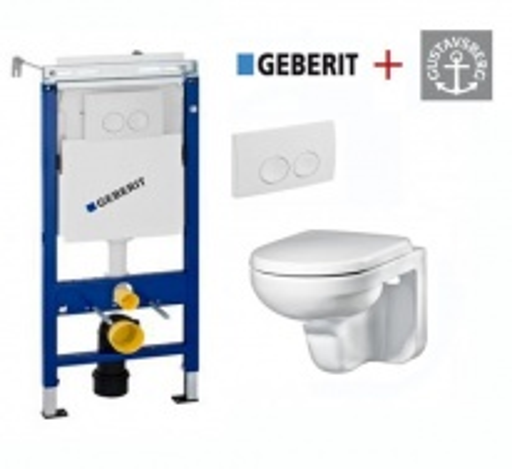 Комплект 4 в 1: Инсталляция Geberit Duofix Платтенбау 458.122.11.1 UP100 с подвесным унитазом Gustavsberg Artic GB114330201231 с сиденьем soft-close