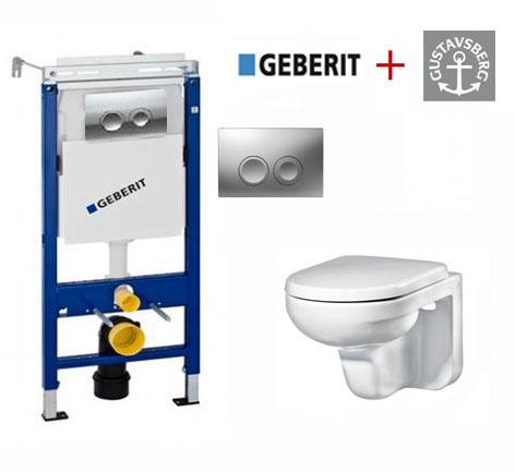 Комплект 4 в 1: Инсталляция Geberit Duofix Платтенбау 458.122.21.1 UP100 с подвесным унитазом Gustavsberg Artic GB114330201231 с сиденьем soft-close