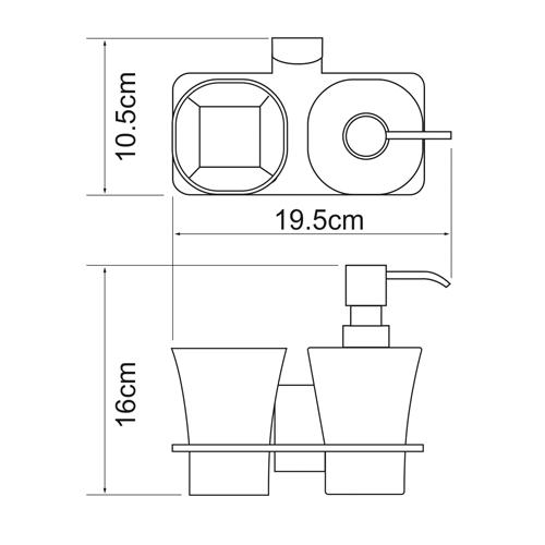 Держатель стакана и дозатора WasserKRAFT Leine K-5089