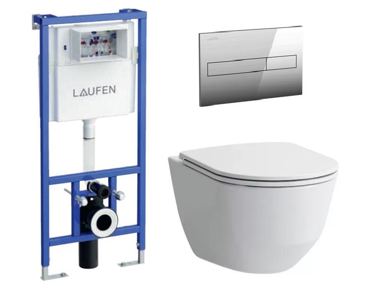 Комплект унитаз Laufen Pro Rimless 8.2096.6.000.000.1 безободковый c сиденьем SoftClose с инсталляцией Laufen 8946600000001 и кнопкой 8956610040001